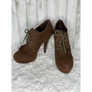 G by Guess Venise Brown Platform Ankle Booties 7